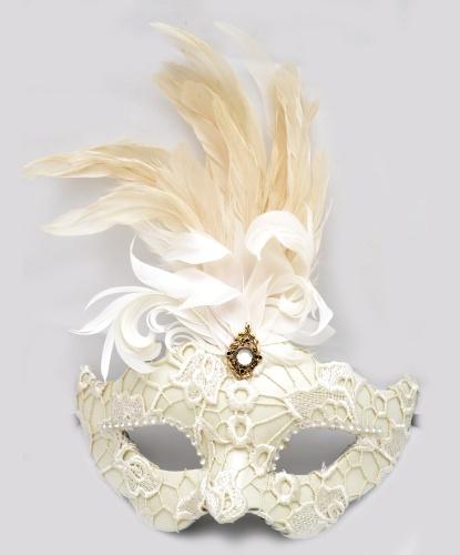Венецианская маска Colombina, белая, перья, папье-маше, ткань, стразы (Италия)
