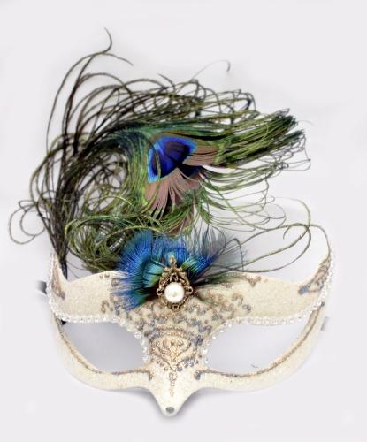 Венецианская, карнавальная маска, перья, папье-маше (Италия)