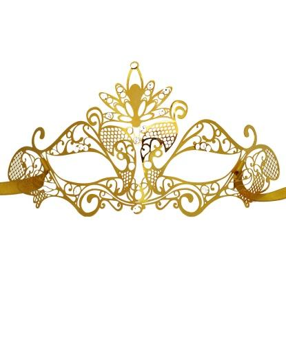 Золотая маска Colombina Pavone, металл (Италия)