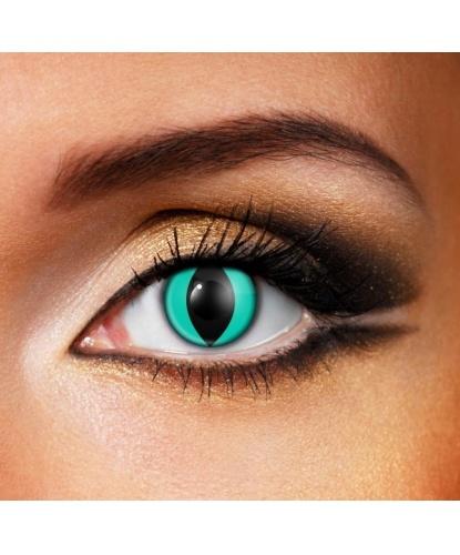 Линзы кошачий глаз аквамарин, без диоптрий, срок ношения 90 дней (Великобритания)