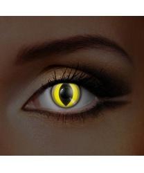Линзы желтый кошачий глаз, светятся в УФ