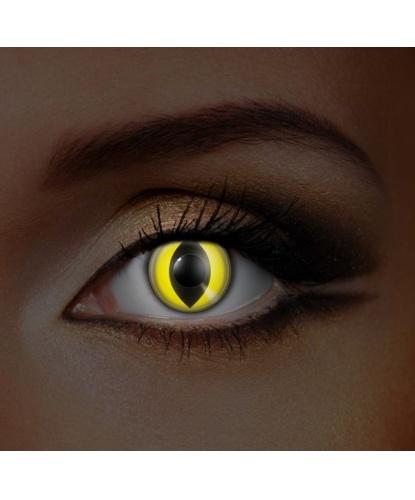 Линзы желтый кошачий глаз, светятся в УФ, без диоптрий, срок ношения 1 год (Великобритания)