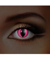Линзы Розовые кошачьи, светятся в УФ