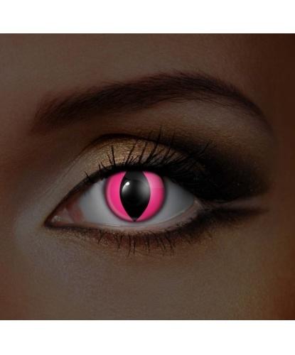 Линзы Розовые кошачьи, светятся в УФ, без диоптрий, срок ношения 90 дней (Великобритания)