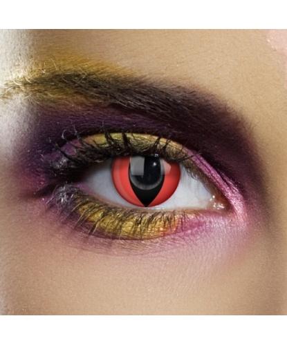 Линзы красный кошачий глаз, однодневные, без диоптрий, срок ношения 1 день (одноразовые) (Великобритания)