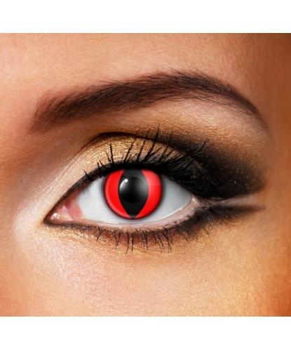 Линзы Красный кошачий глаз, без диоптрий, срок ношения 90 дней (Великобритания)