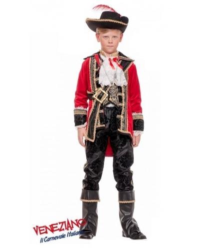 Детский костюм Капитан Крюк: камзол, рубашка, жилетка, брюки,шляпа, перевязь,сабля, накладки на обувь, крюк (Италия)