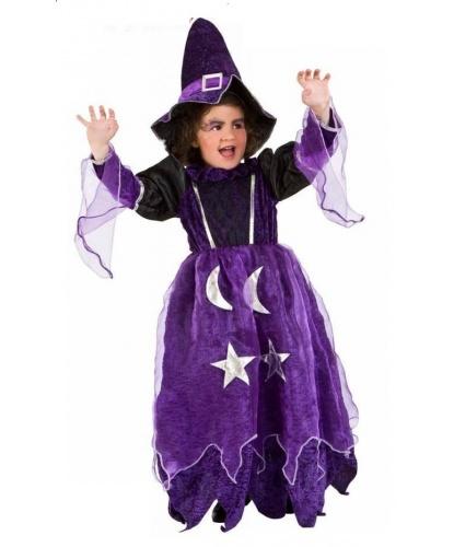 Детский костюм колдуньи-чародейки: платье, колпак (Италия)