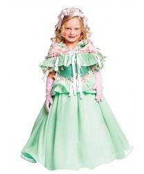 Карнавальный костюм нежной принцессы: платье, накидка, головной убор, перчатки (Италия)