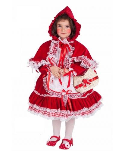 Детский костюм Красная Шапочка: головной убор, платье, фартук, корзинка (Италия)