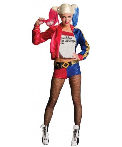 Костюм Харли Квинн (Harley Quinn) из Отряда самоубийц: куртка с вшитой футболкой, шорты, ремень, колготки (Германия)