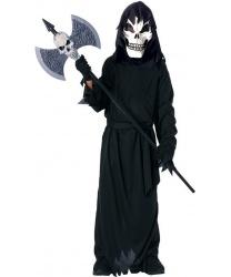 Детский костюм ужасающего скелета : балахон с капюшоном, маска, перчатки (Германия)