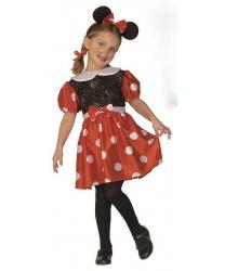 Детский костюм Минни Маус: платье, обруч с ушками (Италия)