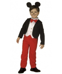 Детский костюм Микки-Мауса: фрак с вшитой жилеткой, штаны, галстук-бабочка, ушки на обруче (Италия)