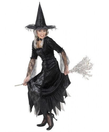 Черное платье ведьмы Паутинка: платье, колпак (Италия)
