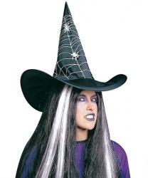 Черный колпак ведьмы с нарисованной паутиной