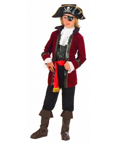 Детский костюм Пирата острова сокровищ: камзол, жилет с жабо, пояс,брюки с накладками на обувь, шляпа, наглазник (Италия)
