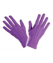 Короткие, фиолетовые перчатки