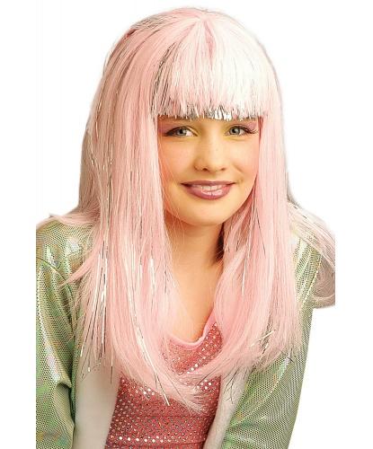 Розовый блестящий парик для девочки: серебряный, розовый (Италия)