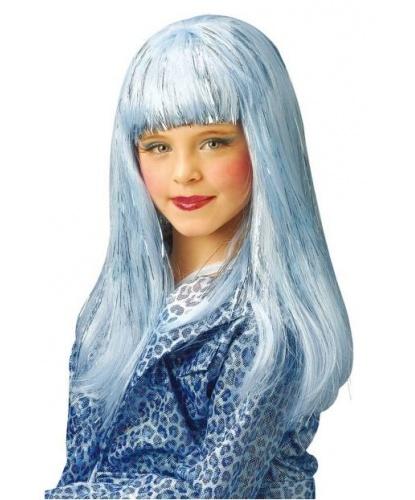 Голубой блестящий парик для девочки: голубой, серебряный (Италия)