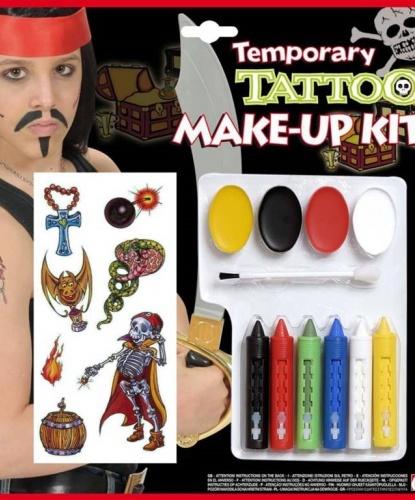 Набор грима, 5 карандашей, кисточка, переводные татуировки: черный, белый, синий, красный, зеленый, желтый (Италия)