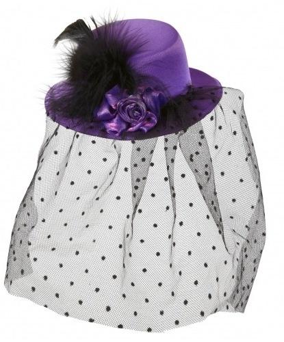 Фиолетовая мини-шляпка с вуалью (Италия)