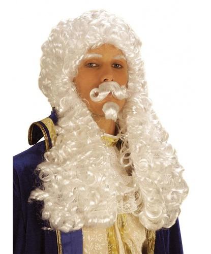 Французский парик с усами: белый (Италия)