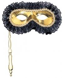 Золотая маска с кружевом на палочке
