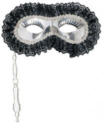 Серебряная маска с кружевом на палочке