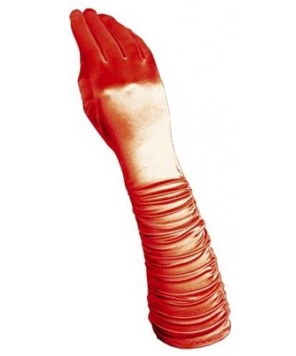 Красные сатиновые перчатки со сборкой (Италия)