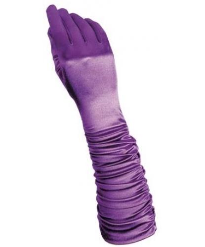Фиолетовые сатиновые перчатки со сборкой (Италия)