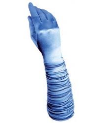 Голубые сатиновые перчатки со сборкой