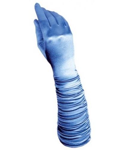 Голубые сатиновые перчатки со сборкой (Италия)