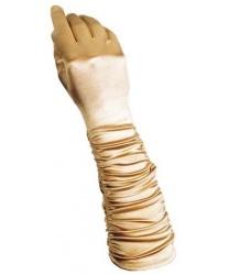 Золотые сатиновые перчатки со сборкой
