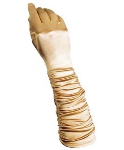 Золотые сатиновые перчатки со сборкой (Италия)