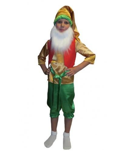 Детский костюм гномика: борода, рубашка, жилетка, пояс, штаны, колпак (Россия)