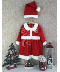 Новогоднее платье с колпаком для малышек