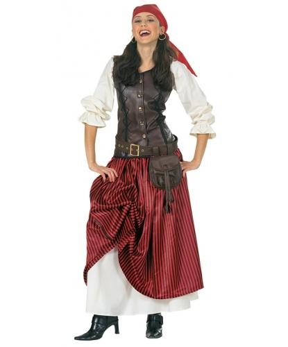 Женский костюм пиратки: юбка, рубашка со вшитой жилеткой, пояс, бандана (Германия)