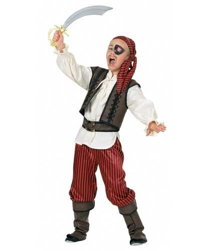 Детский костюм пирата-разбойника: брюки, рубашка с жилеткой, пояс, бандана (Германия)