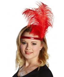 Ободок с перьями красный - На голову, арт: 5037