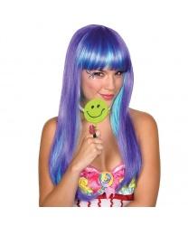 Парик с фиолетовыми и голубыми прядями
