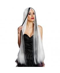 Белый парик с черными прядями
