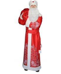 Костюм Деда Мороза Боярский: шуба, кушак, шапка, рукавицы, мешок (Россия)