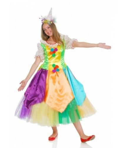Костюм клоунессы Нехочухи:  платье на подкладке, колпак (Украина)