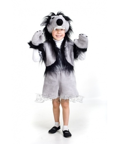 Детский костюм волка: шапка волка, жилет, шорты, рукавички (Украина)