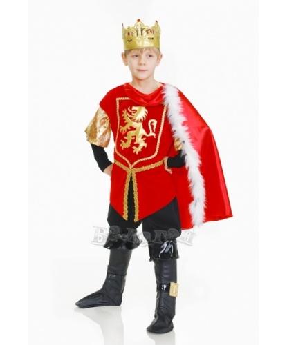 Костюм короля для мальчика: камзол на подкладке, корона, брюки с имитацией сапог (Украина)