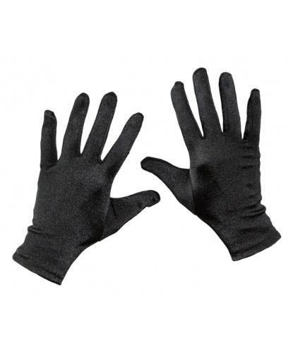Короткие сатиновые перчатки (черные) (Германия)