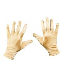 Короткие сатиновые перчатки (золотые) - Перчатки, арт: 8075