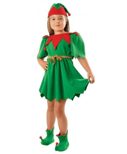 Костюм эльфа Санта-Клауса на девочку: платье, колпак, накладки на обувь (Польша)