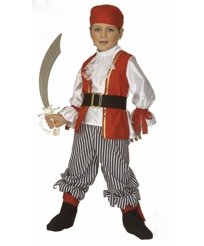 Костюм юного пирата: штаны, рубашка, бандана, пояс (Италия)